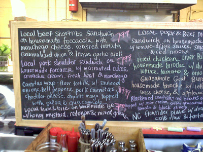 Saxapahaw Grocery Blackboard Specials, 9/21/11